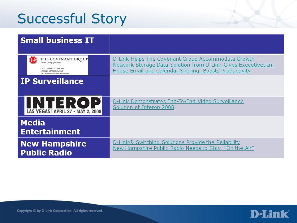 Successful Story Small business IT IP Surveillance Media Entertainment
