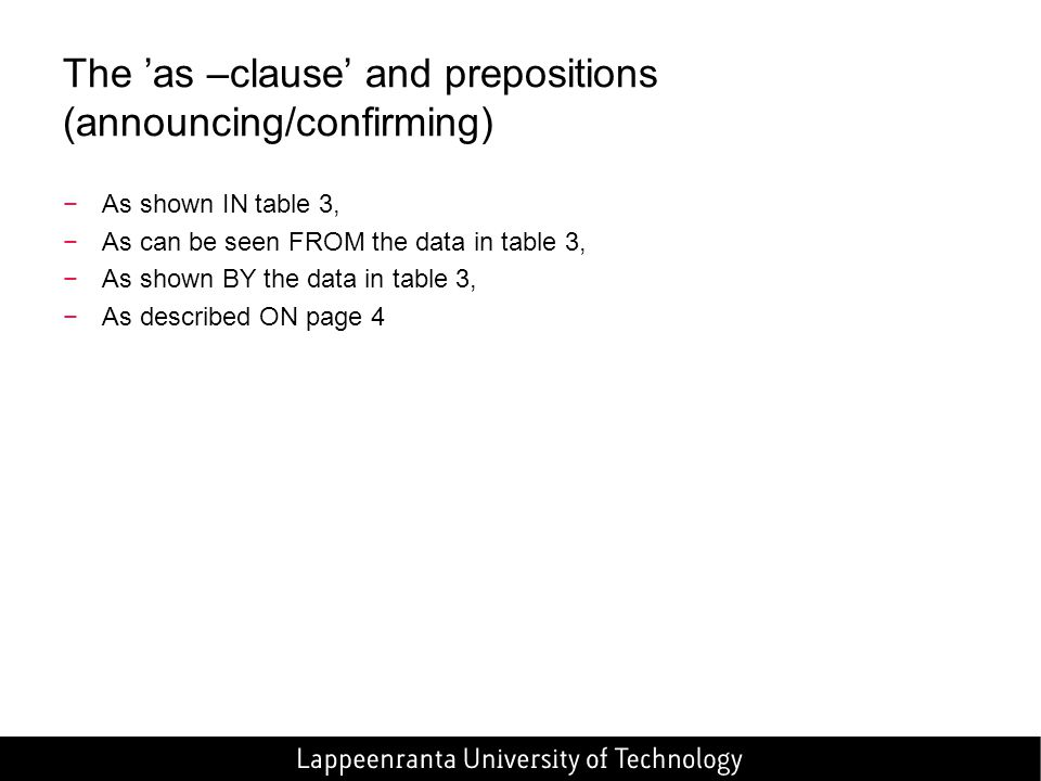 The 'as –clause' and prepositions (announcing/confirming)