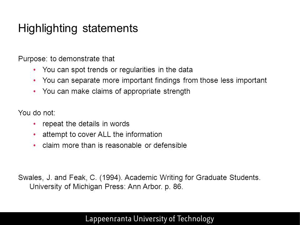 Highlighting statements