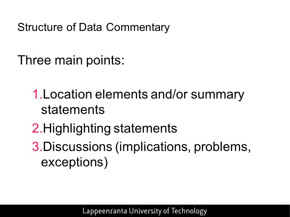 Structure of Data Commentary