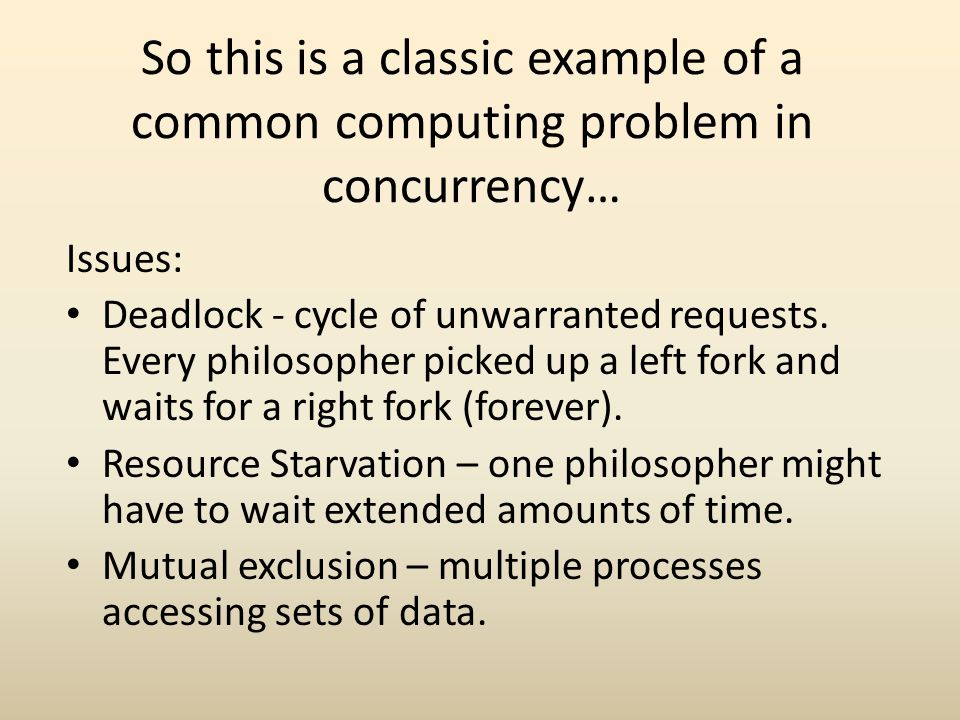 So this is a classic example of a common computing problem in concurrency…