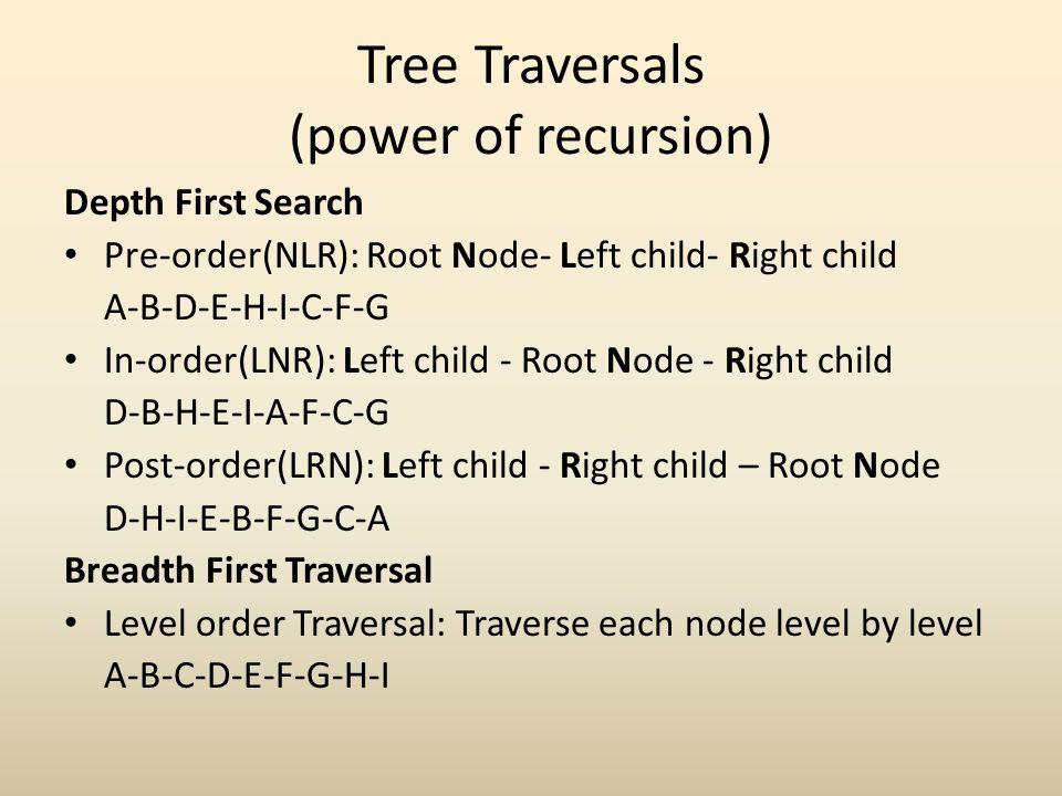 Tree Traversals (power of recursion)