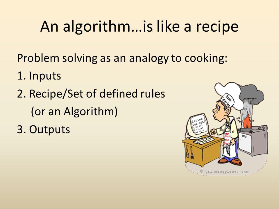 An algorithm…is like a recipe