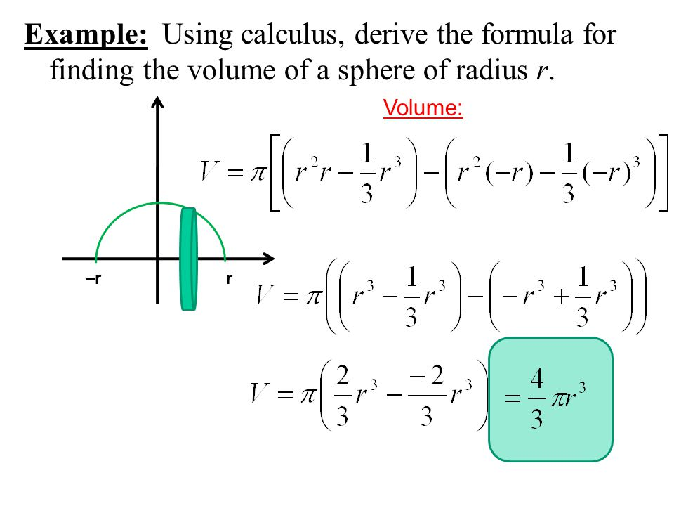 Example: Using calculus, derive the formula for finding the volume of a sphere of radius r.