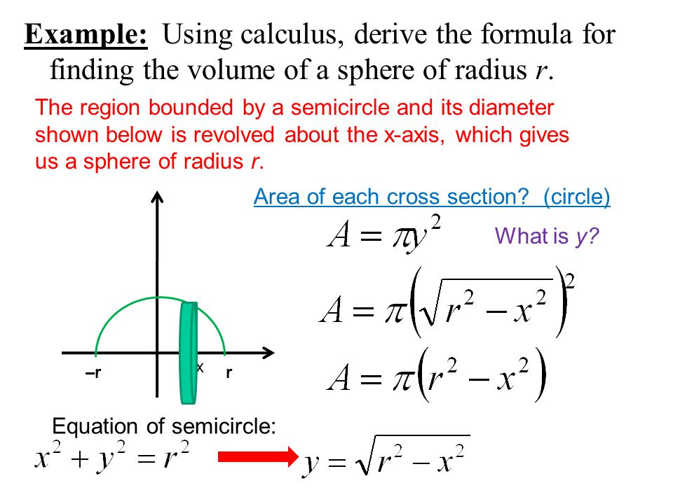 Disk and washer methods ppt download example using calculus derive the formula for finding the volume of a sphere of ccuart Gallery