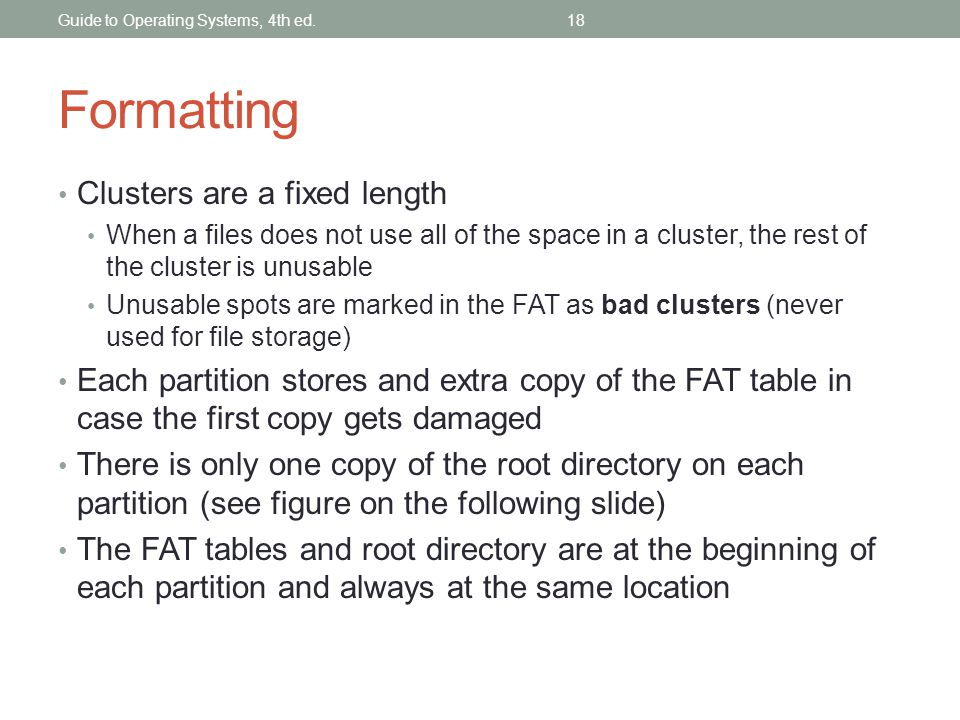 Formatting Clusters are a fixed length