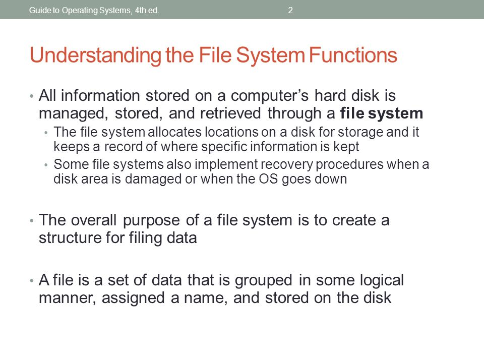 Understanding the File System Functions