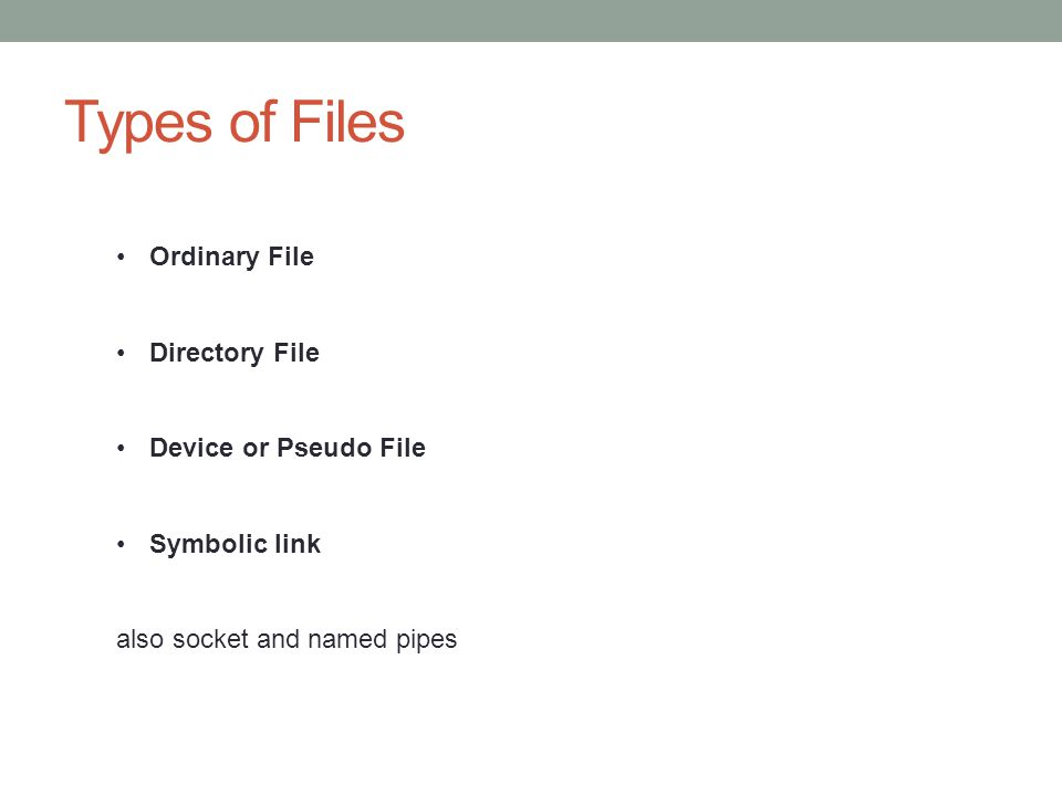 Types of Files Ordinary File Directory File Device or Pseudo File