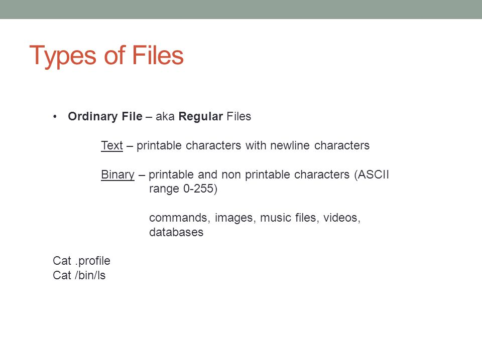 Types of Files Ordinary File – aka Regular Files
