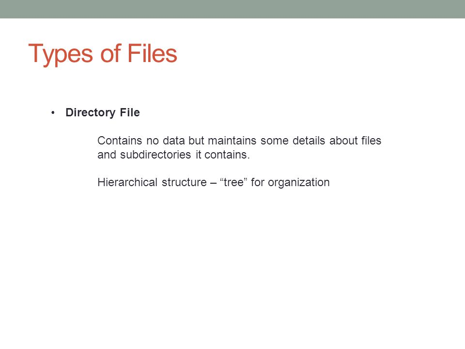 Types of Files Directory File
