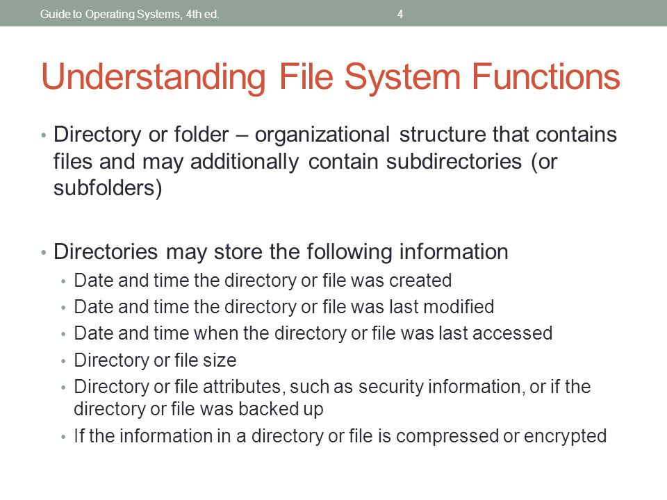 Understanding File System Functions