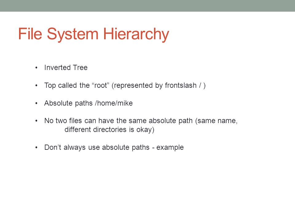 File System Hierarchy Inverted Tree