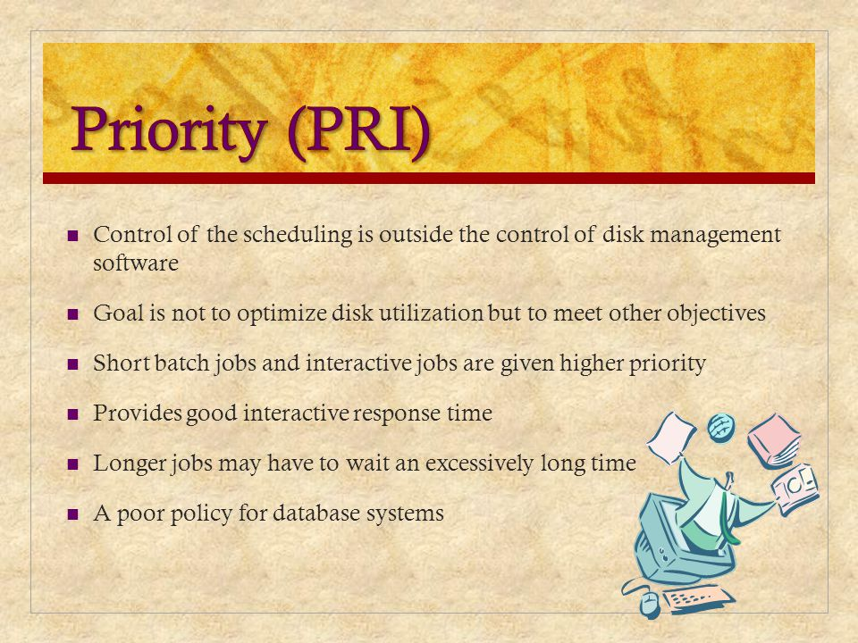 Priority (PRI) Control of the scheduling is outside the control of disk management software.