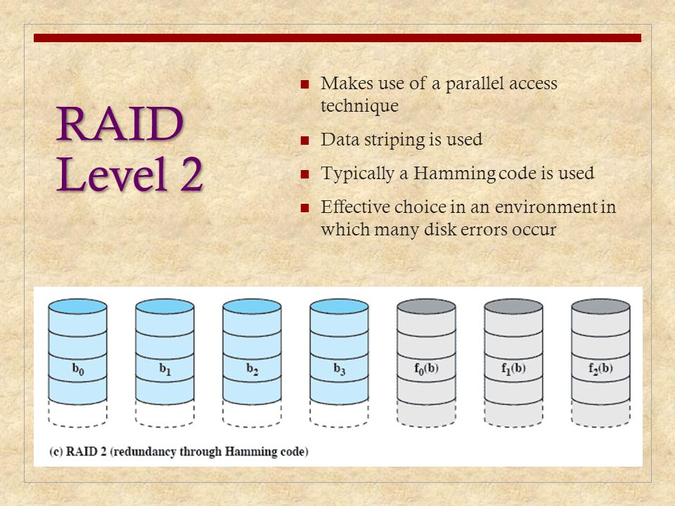 RAID Level 2 Makes use of a parallel access technique