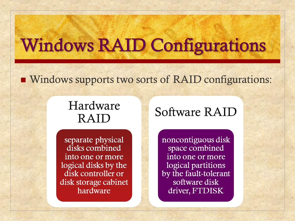Windows RAID Configurations