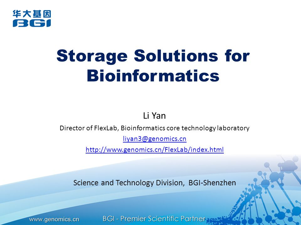 Storage Solutions for Bioinformatics