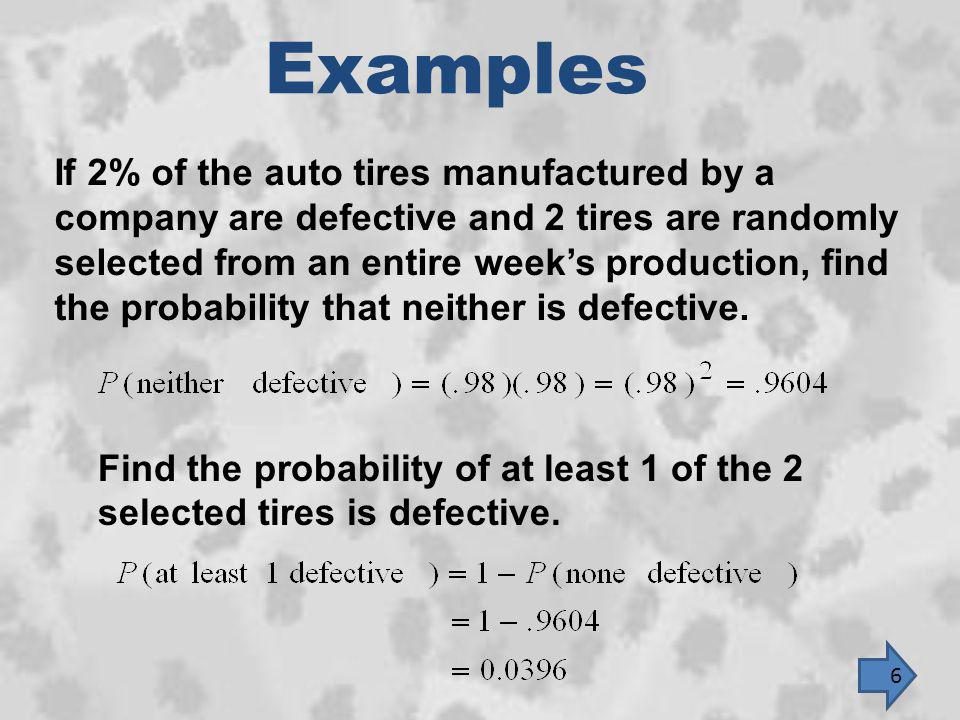 Examples If 2% of the auto tires manufactured by a