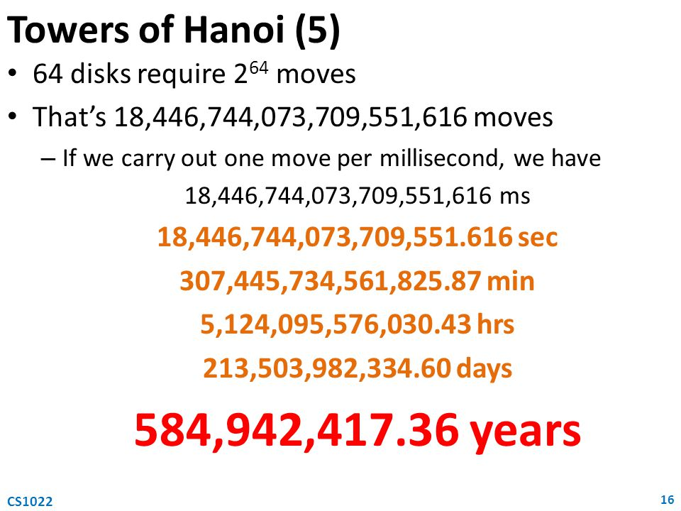 584,942,417.36 years Towers of Hanoi (5) 64 disks require 264 moves