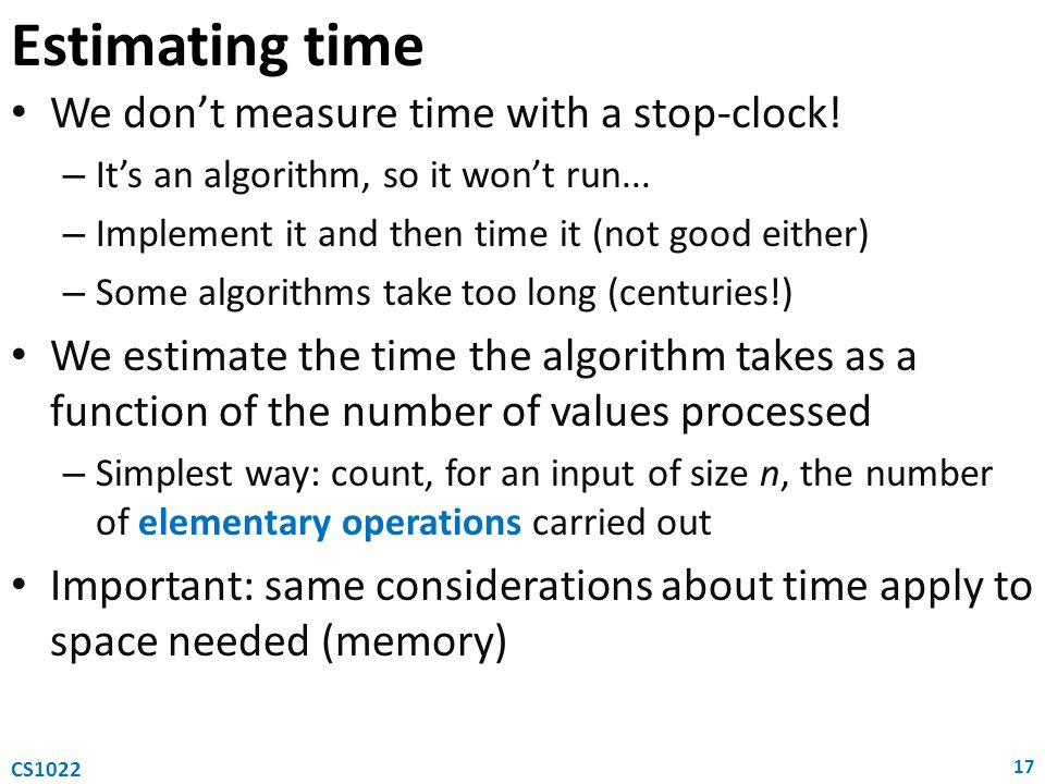 Estimating time We don't measure time with a stop-clock!
