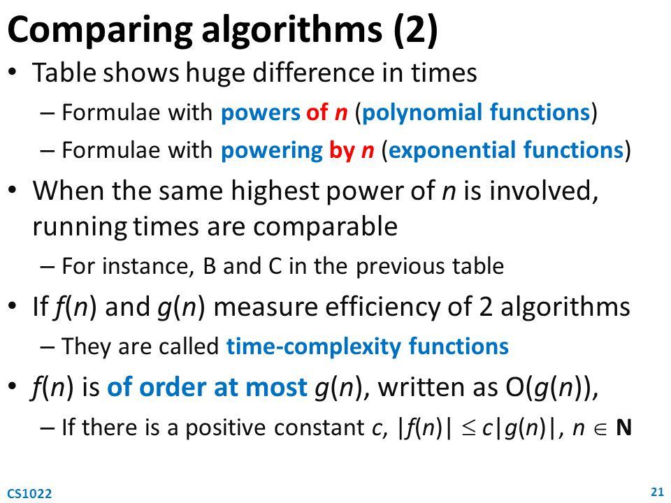 Comparing algorithms (2)