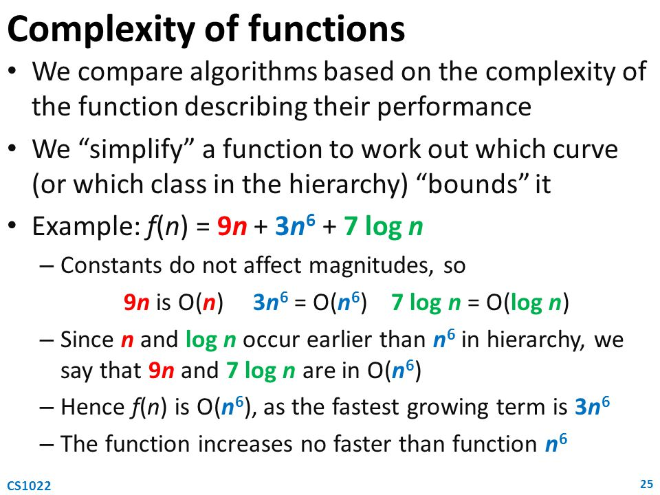 Complexity of functions