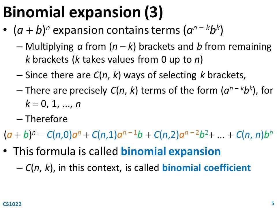 (a  b)n  C(n,0)an  C(n,1)an – 1b  C(n,2)an – 2b2 ...  C(n, n)bn