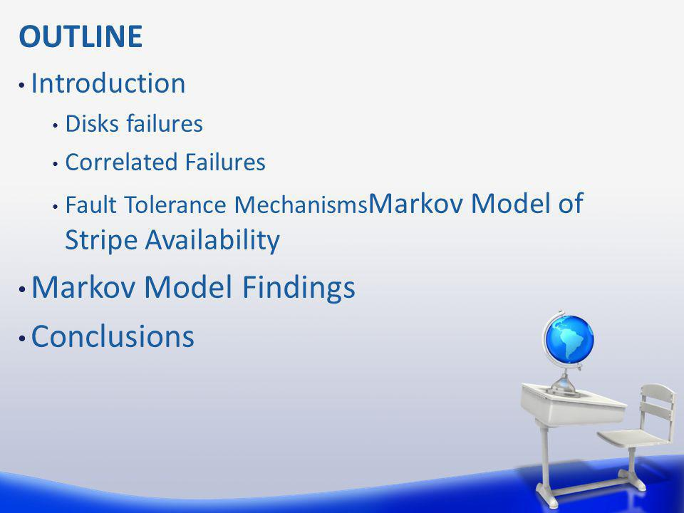 OUTLINE Markov Model Findings Conclusions Introduction Disks failures