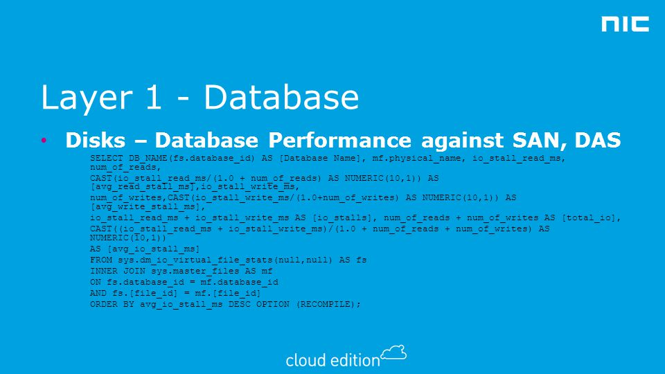 Layer 1 - Database Disks – Database Performance against SAN, DAS