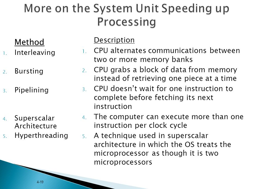More on the System Unit Speeding up Processing