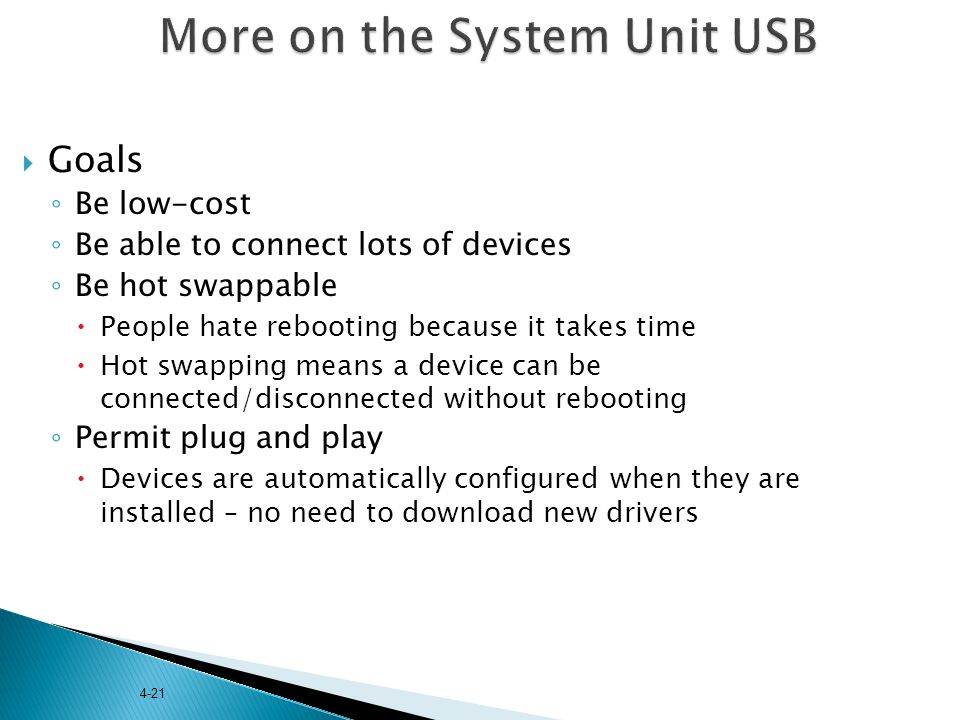 More on the System Unit USB