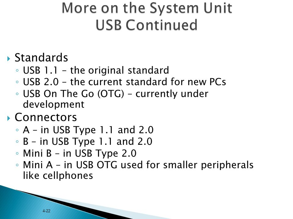 More on the System Unit USB Continued
