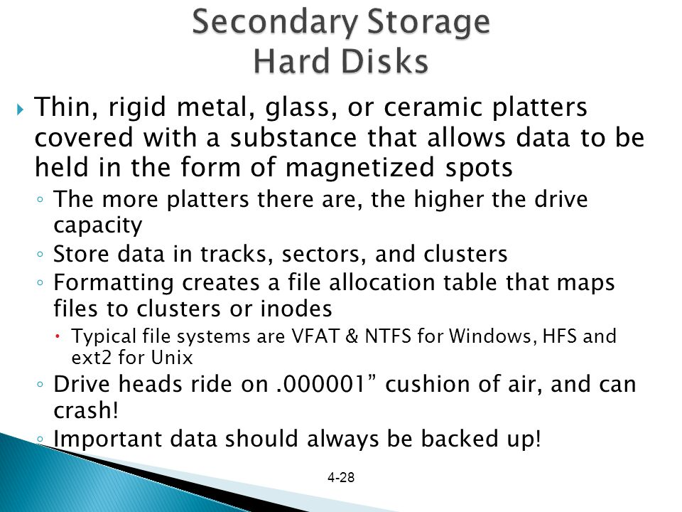 Secondary Storage Hard Disks