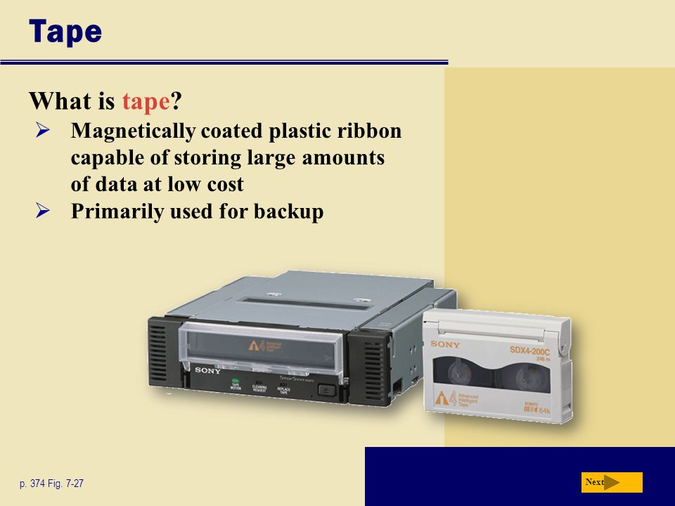 Tape What is tape Magnetically coated plastic ribbon capable of storing large amounts of data at low cost.