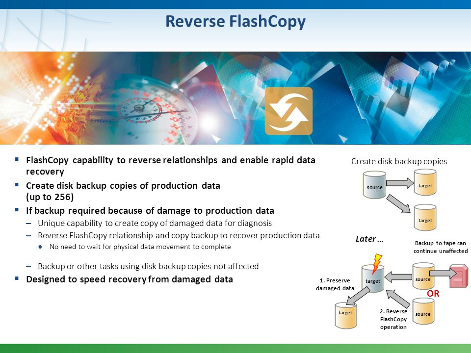 2. Reverse FlashCopy operation Backup to tape can continue unaffected
