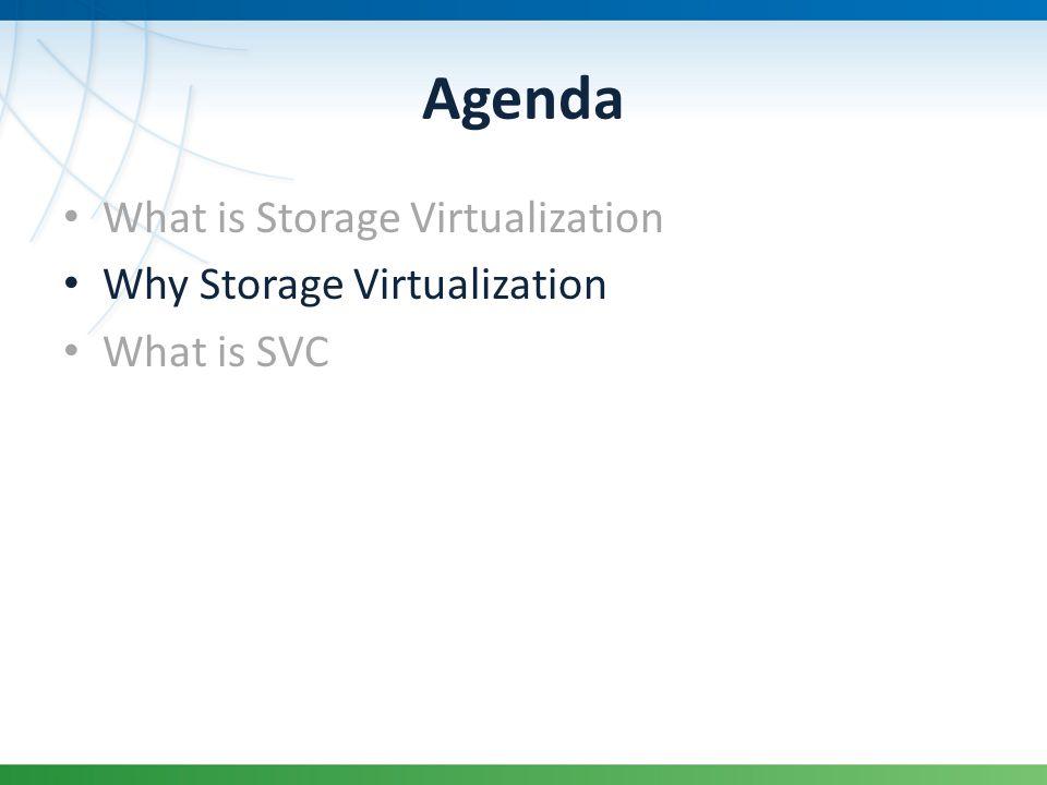 Agenda What is Storage Virtualization Why Storage Virtualization