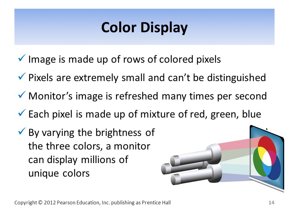 Color Display Image is made up of rows of colored pixels