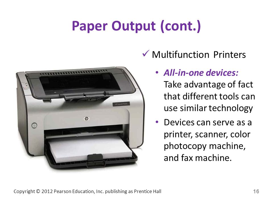 Paper Output (cont.) Multifunction Printers