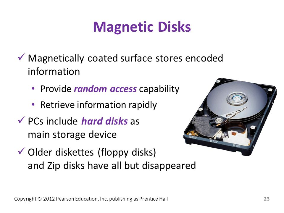 Magnetic Disks Magnetically coated surface stores encoded information