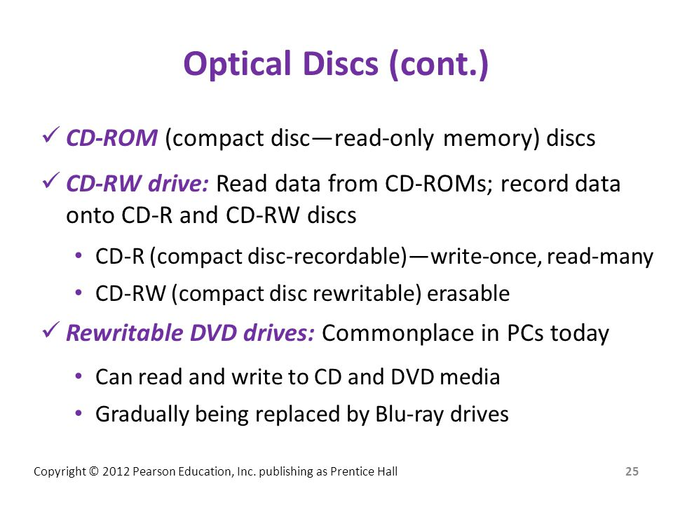 Optical Discs (cont.) CD-ROM (compact disc—read-only memory) discs