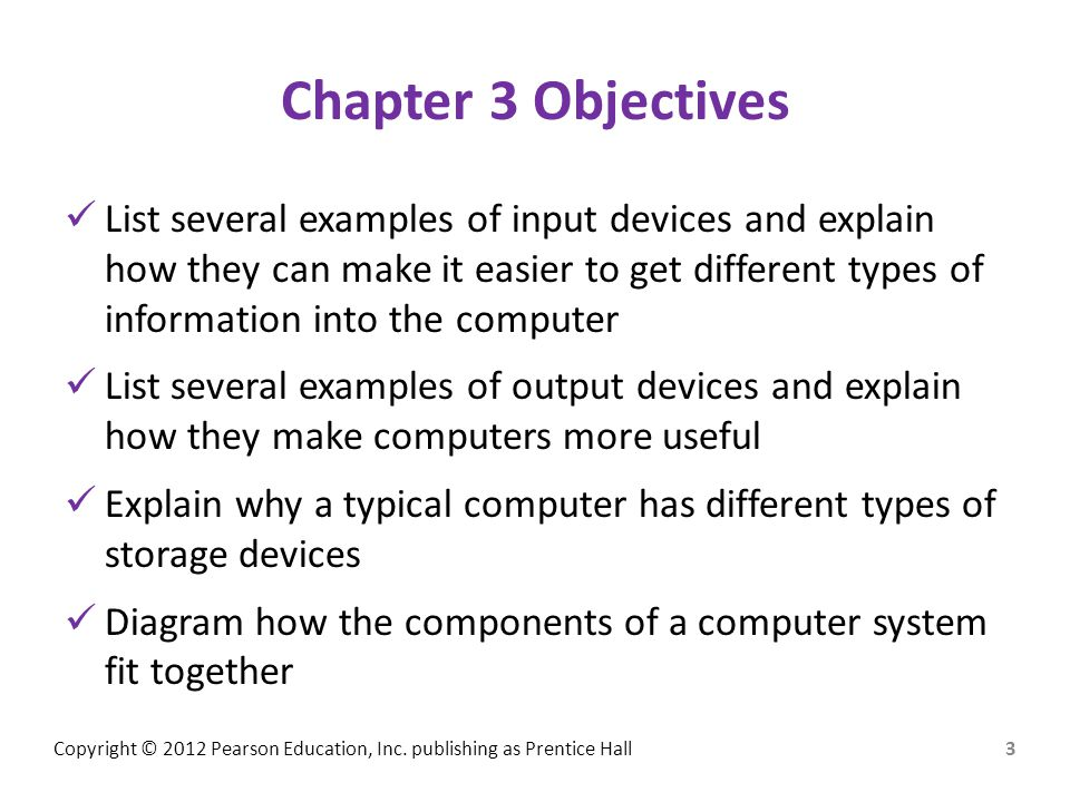 Chapter 3 Objectives