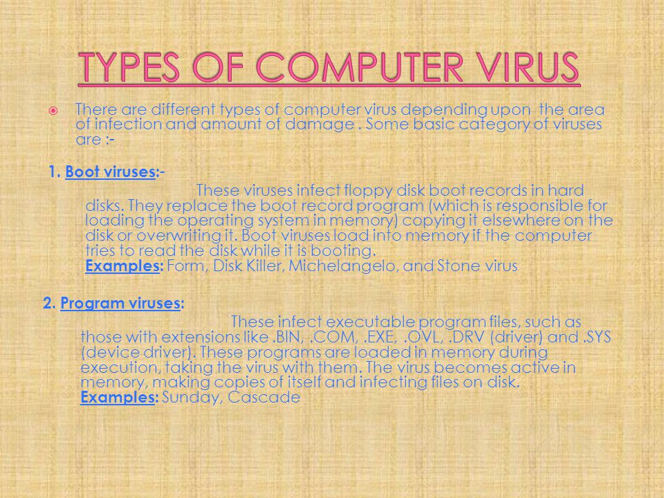 TYPES OF COMPUTER VIRUS