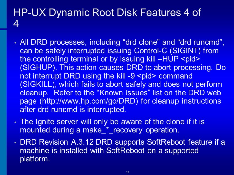 HP-UX Dynamic Root Disk Features 4 of 4