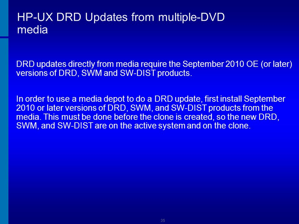 HP-UX DRD Updates from multiple-DVD media