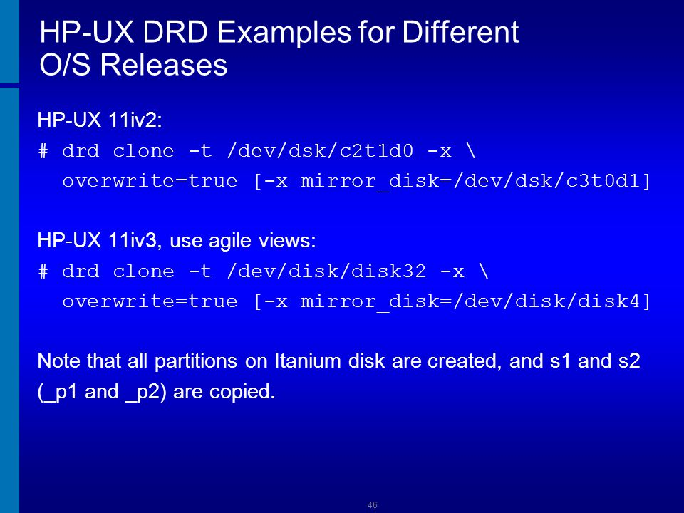 HP-UX DRD Examples for Different O/S Releases