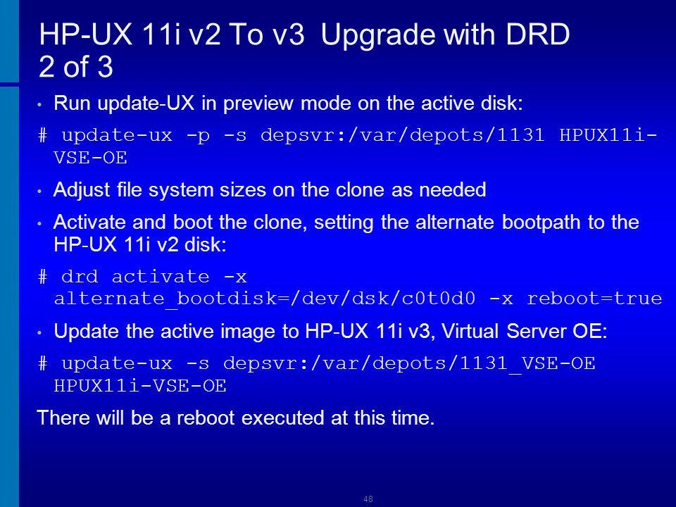 HP-UX 11i v2 To v3 Upgrade with DRD 2 of 3