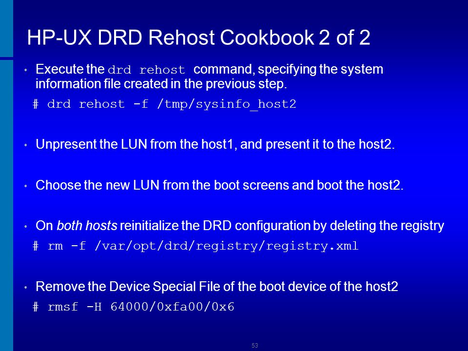 HP-UX DRD Rehost Cookbook 2 of 2