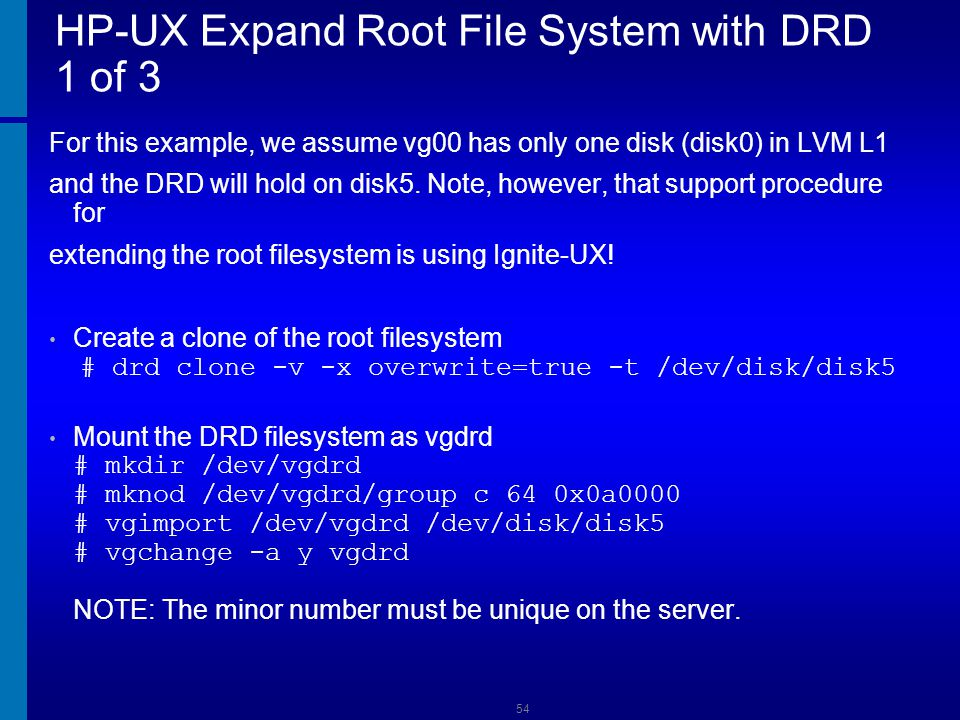 HP-UX Expand Root File System with DRD 1 of 3