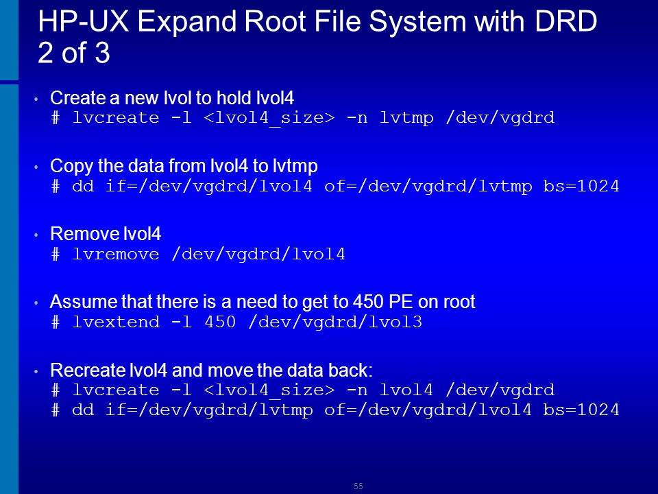 HP-UX Expand Root File System with DRD 2 of 3