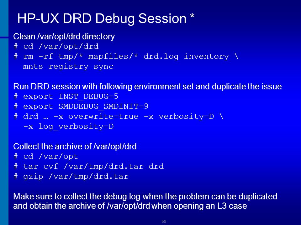 HP-UX DRD Debug Session *