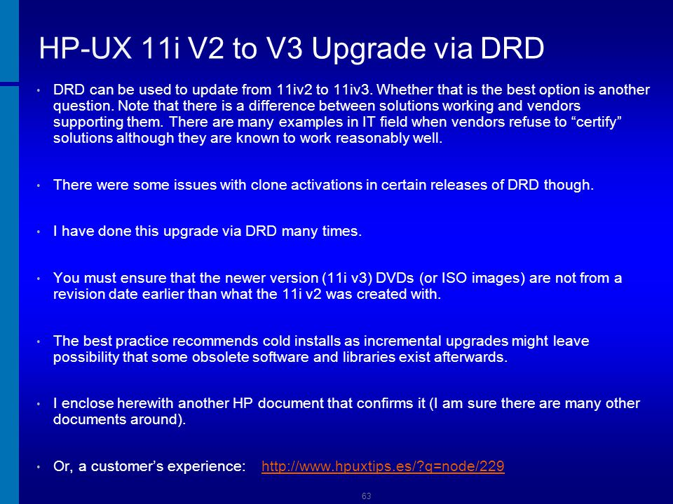 HP-UX 11i V2 to V3 Upgrade via DRD